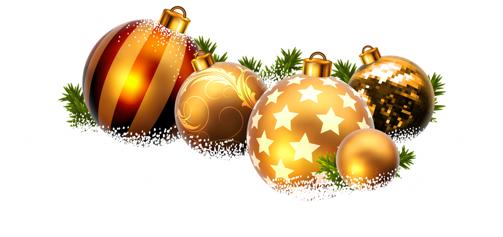 Christmas Balls and Snow PNG Clipart Image